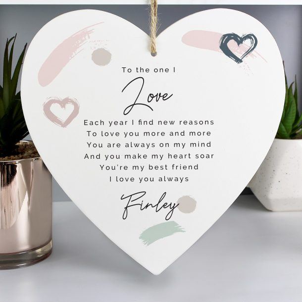 Personalised Love Large Wooden Heart