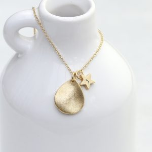 Personalised Matte Gold Star & Tear Drop Necklace