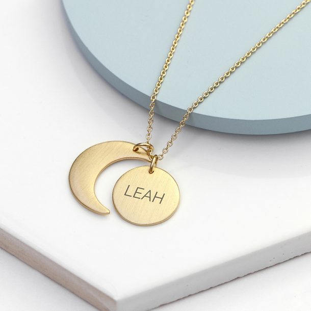 Personalised Matte Moon & Sun Necklace