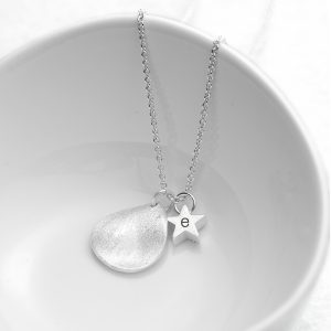 Personalised Matte Silver Star & Tear Drop Necklace