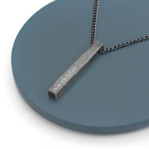 Personalised Men's Solid Bar Brushed Gunmetal Necklace