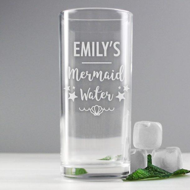 Personalised Mermaid Water Hi Ball Glass