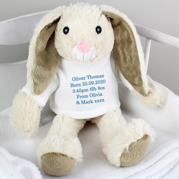 Personalised Message Bunny Rabbit - Blue