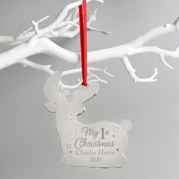Personalised My 1st Christmas Reindeer Metal Decoration