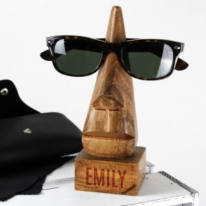 Personalised Name Wooden Nose-Shaped Glasses Holder