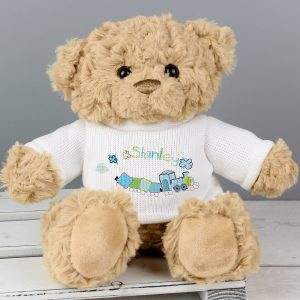 Personalised Patchwork Train Teddy Bear