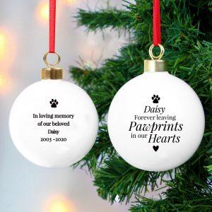 Personalised Pawprints Memorial Bauble