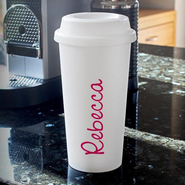Personalised Pink Name Island Double Walled Travel Mug