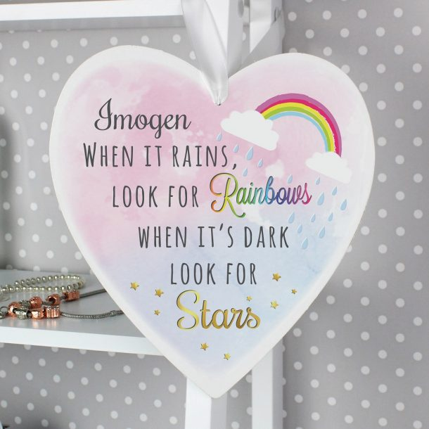 Personalised Rainbows & Stars Large Wooden Heart Decoration