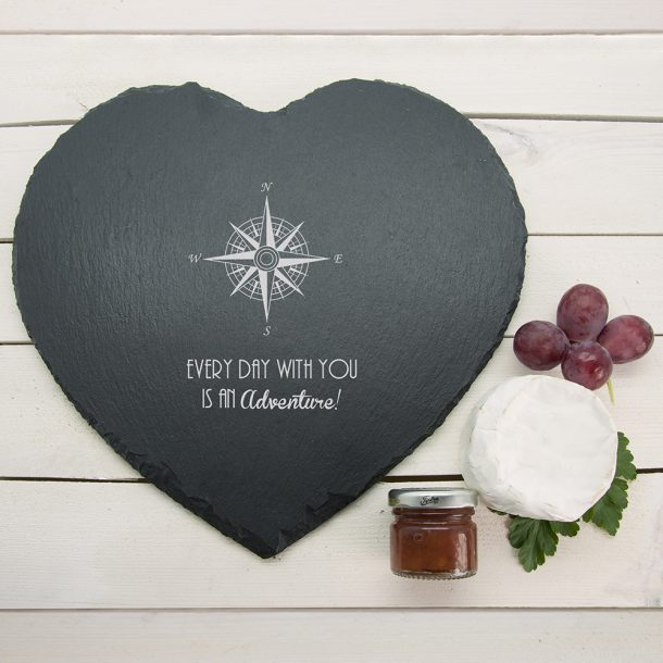 Personalised Romantic Compass Heart Slate Cheese Board