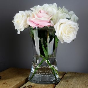 Personalised 'Ruby Anniversary' Glass Vase