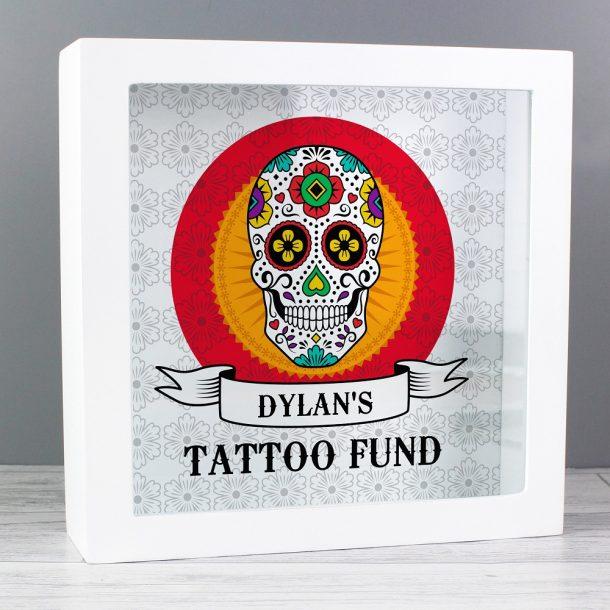 Personalised Sugar Skull Tattoo Fund & Keepsake Box