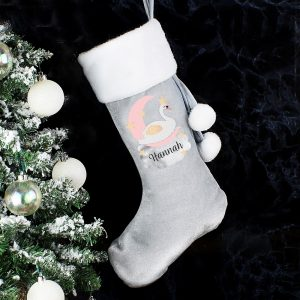 Personalised Swan Lake Luxury Silver Grey Stocking