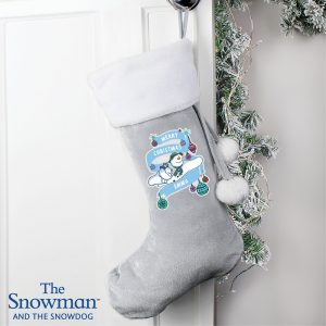 Personalised The Snowman & The Snowdog Luxury Silver Grey Stocking