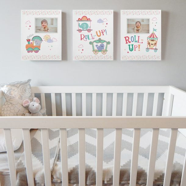 Personalised Tiny Tatty Teddy Little Circus Photo Upload Set of 3 Canvas'