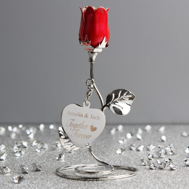 Personalised Together Forever Red Rose Bud Ornament