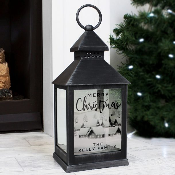 Personalised Town Christmas Rustic Black Lantern