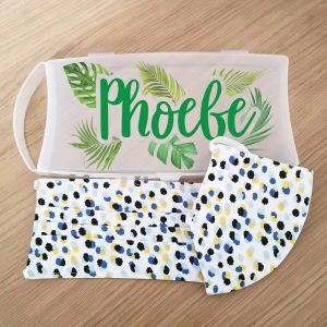 Personalised Tropical Face Mask Case with 2 Ditsy Pattern Masks