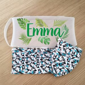 Personalised Tropical Face Mask Case with 2 Teal Geometric Masks