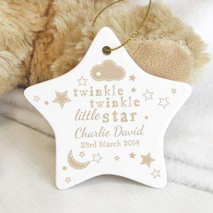 Personalised Twinkle Twinkle Ceramic Star Decoration