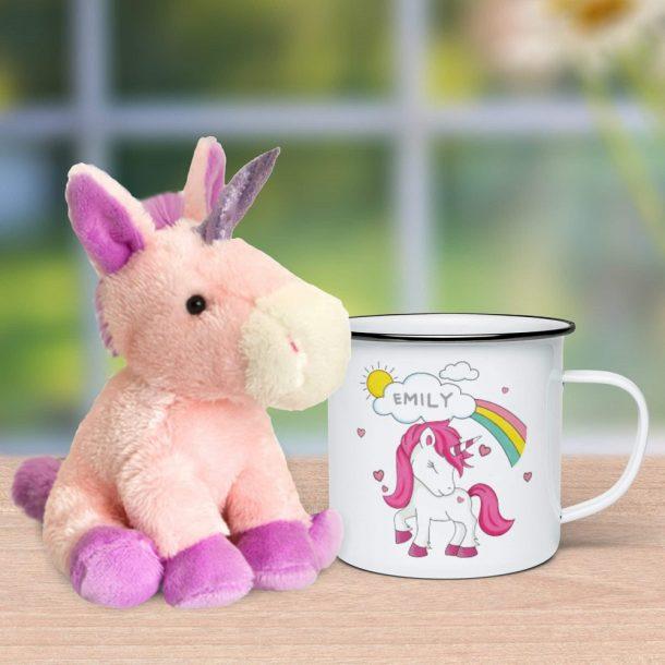 Personalised Unicorn Enamel Mug & Plush Unicorn