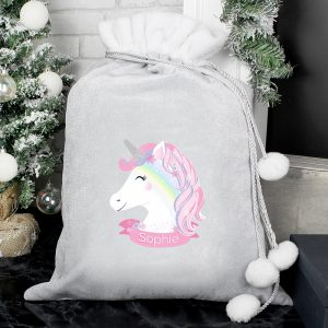 Personalised Unicorn Luxury Silver Grey Pom Pom Sack
