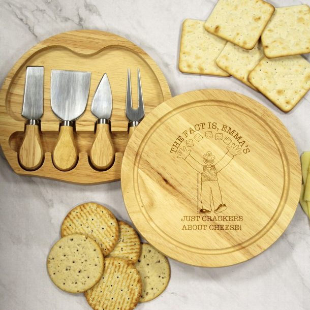 Personalised W & G 'Crackers About Cheese' Cheese Board Set