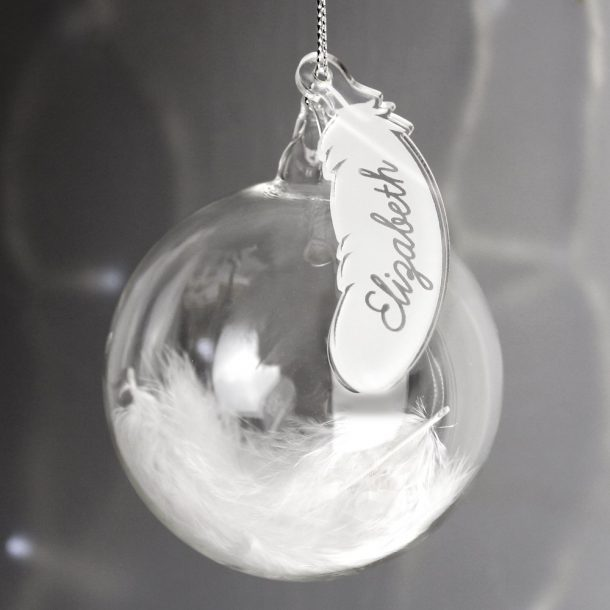 Personalised White Feather Glass Bauble