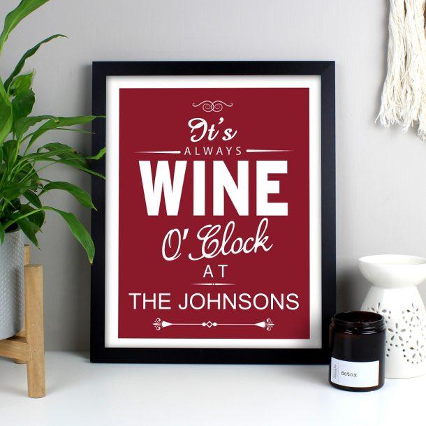 Personalised Wine O'Clock Black Framed Print