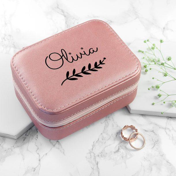 Personalised Wreath Pink Travel Jewellery Case