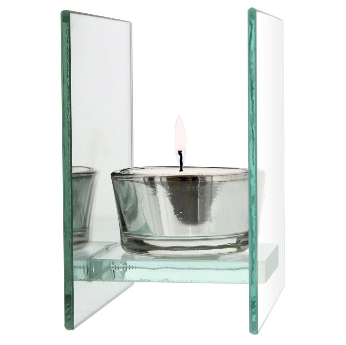 Personalised Floral Mirrored Glass Tea Light Holder