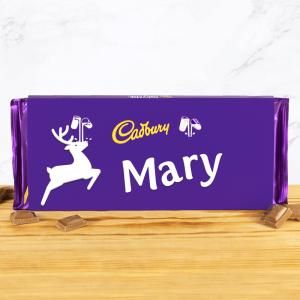 Personalised 360g Christmas Reindeer Leap Cadbury Dairy Milk