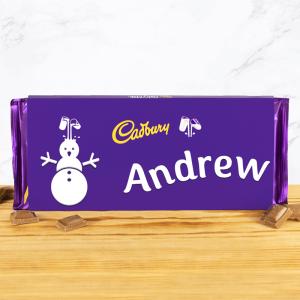 Personalised 360g Christmas Snowman Cadbury Dairy Milk