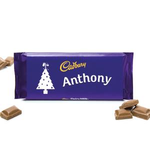 Personalised 850g Cadbury Dairy Milk Christmas Tree
