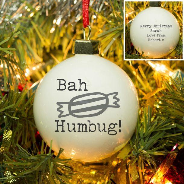 Personalised Bah Humbug Bauble