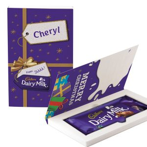 Personalised Cadbury Dairy Milk Chocolate Christmas Card - Present