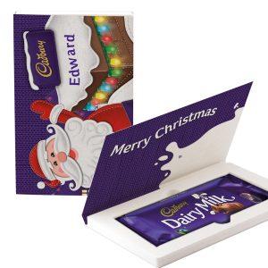 Personalised Cadbury Dairy Milk Chocolate Christmas Card - Santa