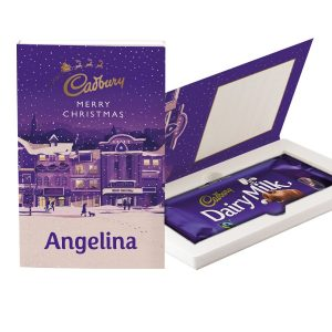 Personalised Cadbury Dairy Milk Chocolate Christmas Card - Street Scene