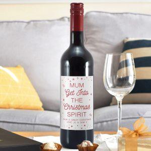 Personalised Christmas Spirit Red Wine