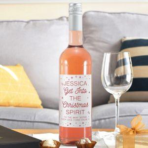 Personalised Christmas Spirit Rosé Wine