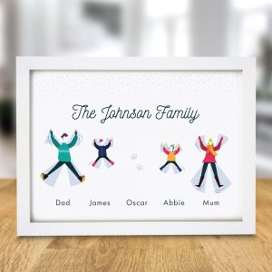 Personalised Family Snow Angel A4 Framed Print