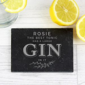 Personalised Gin & Tonic Single Slate Coaster