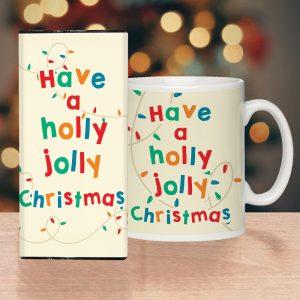 Personalised Holly Jolly Christmas Mug & Chocolate Bar Set