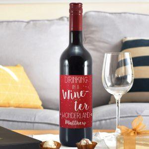 Personalised In a Wine-ter Wonderland Red Wine