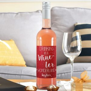 Personalised In a Wine-ter Wonderland Rose Wine