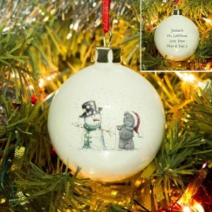 Personalised Me To You Tatty & Snowman Bauble