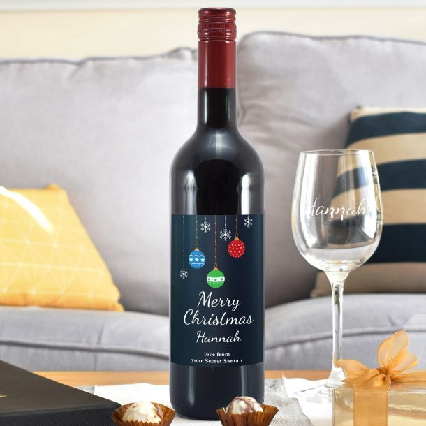 Personalised Merry Christmas Red Wine & Glass Set