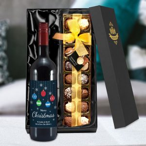 Personalised Merry Christmas Red Wine & Truffles Set