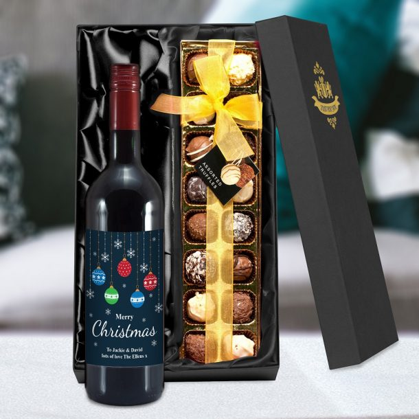 Personalised Merry Christmas Red Wine & Truffles Set