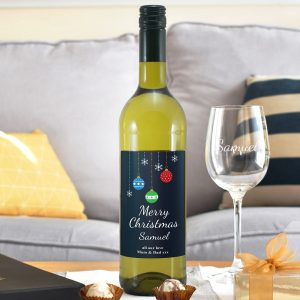 Personalised Merry Christmas White Wine & Glass Set